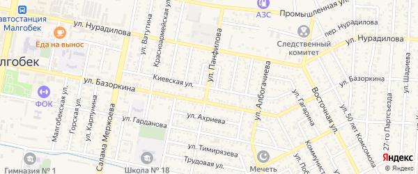 Переулок Киевская на карте Малгобека с номерами домов