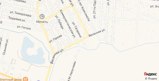 Весенняя улица в Малгобеке с номерами домов на карте. Спутник и схема онлайн