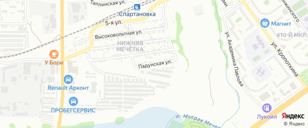 Падунская улица на карте Волгограда с номерами домов