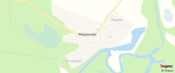 Карта деревни Мериново города Семенова в Нижегородской области с улицами и номерами домов