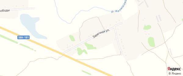 Заречная улица на карте села Трескино Пензенской области с номерами домов