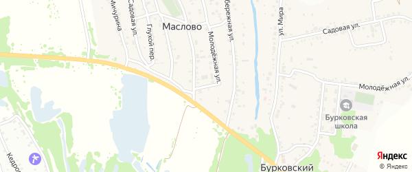 Зеленый переулок на карте поселка Маслова Волгоградской области с номерами домов