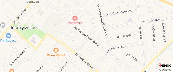 Улица Борцов Революции на карте Левокумского села Ставропольского края с номерами домов