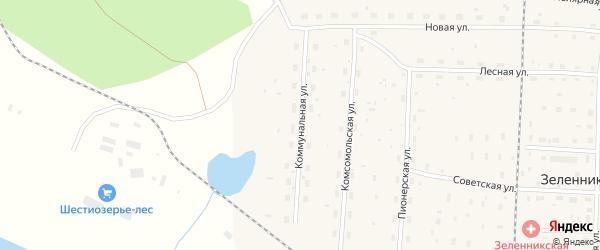 Коммунальная улица на карте поселка Зеленника с номерами домов