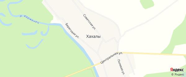 Карта деревни Хахалы города Семенова в Нижегородской области с улицами и номерами домов