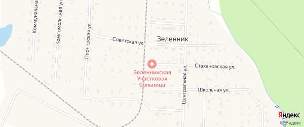Железнодорожная улица на карте поселка Зеленника Архангельской области с номерами домов