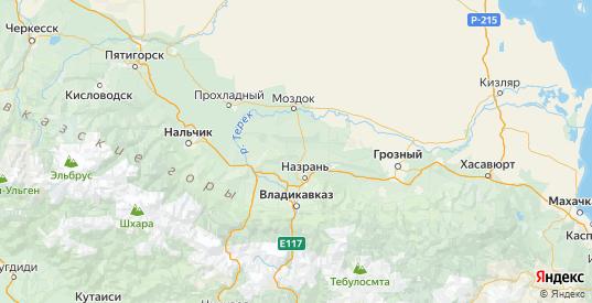 Карта Малгобекского района республики Ингушетия с городами и населенными пунктами