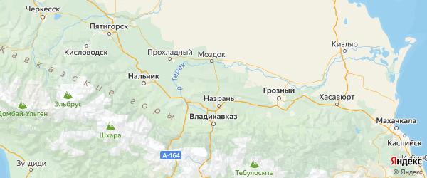 Карта Малгобекского района Республики Ингушетии с городами и населенными пунктами