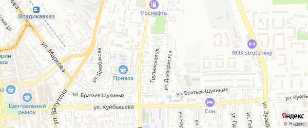 Улица Баракова на карте Владикавказа с номерами домов