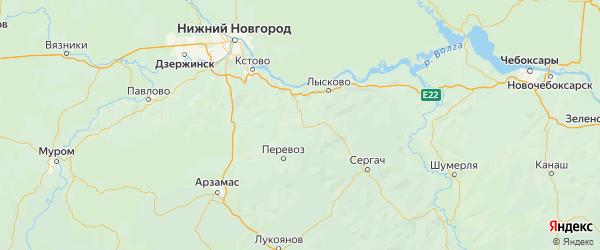 Карта Большемурашкинского района Нижегородской области с городами и населенными пунктами
