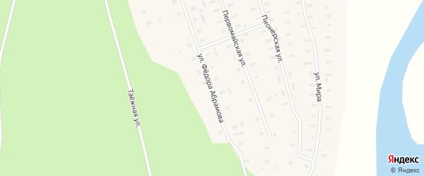 Улица Федора Абрамова на карте деревни Кушкопалы Архангельской области с номерами домов