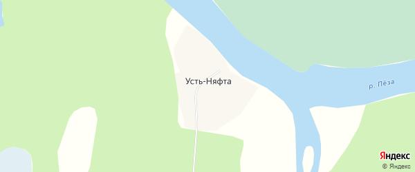 Карта деревни Усть-Няфта в Архангельской области с улицами и номерами домов