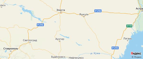 Карта Ики-бурульского района Республики Калмыкии с городами и населенными пунктами