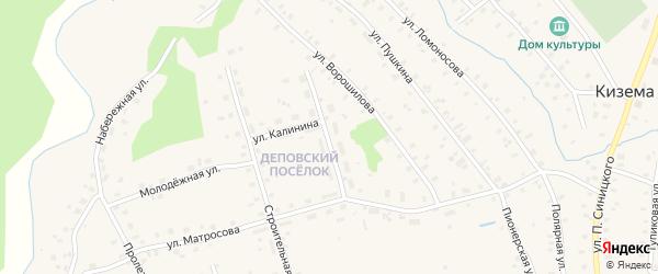 Улица Калинина на карте поселка Киземы с номерами домов