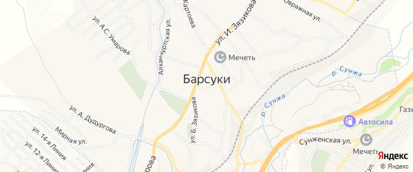 Карта села Барсуки в Ингушетии с улицами и номерами домов