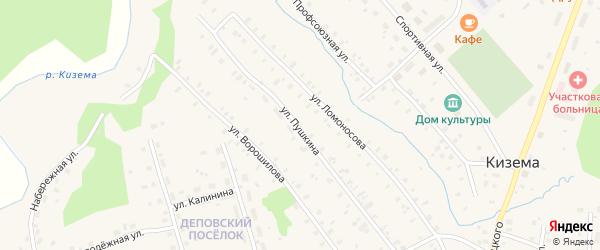Улица Пушкина на карте поселка Киземы Архангельской области с номерами домов
