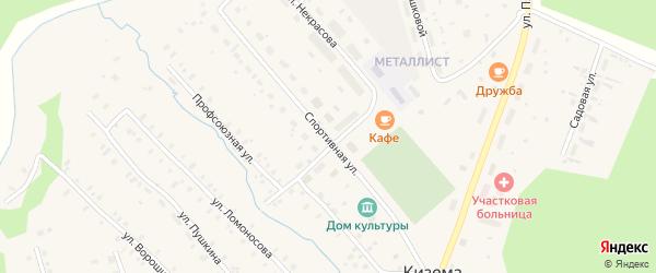 Спортивная улица на карте поселка Киземы с номерами домов