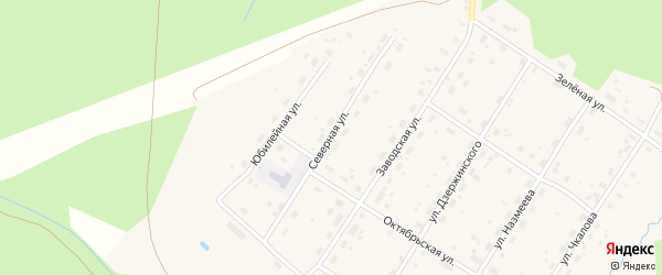 Северная улица на карте поселка Киземы с номерами домов