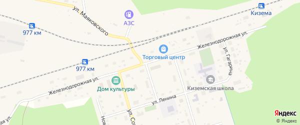 Железнодорожная улица на карте поселка Киземы Архангельской области с номерами домов