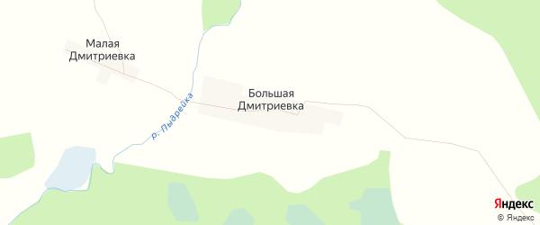 Карта деревни Большей Дмитриевки города Семенова в Нижегородской области с улицами и номерами домов