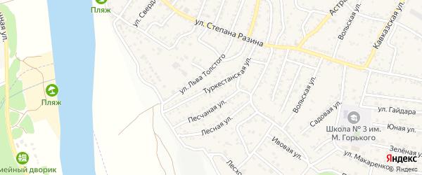 Туркестанская улица на карте поселка Средней Ахтубы Волгоградской области с номерами домов