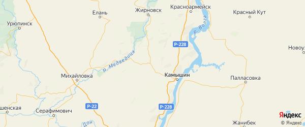 Карта Котовского района Волгоградской области с городами и населенными пунктами