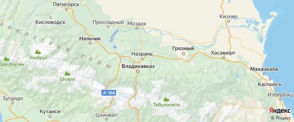 Карта Назрановского района Республики Ингушетии с городами и населенными пунктами