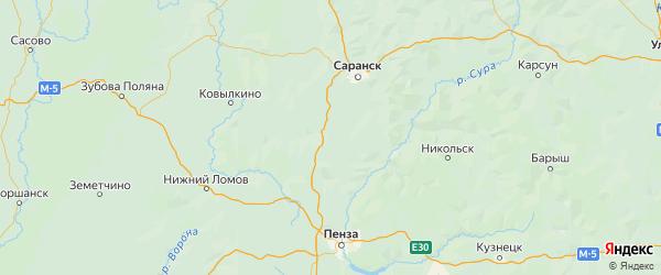 Карта Иссинского района Пензенской области с городами и населенными пунктами