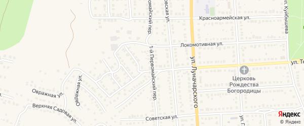 Первомайский 1-й переулок на карте Рузаевки с номерами домов