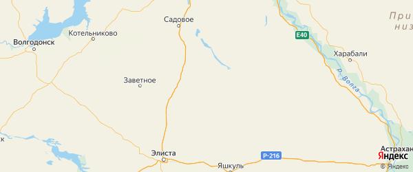 Карта Кетченеровского района Республики Калмыкии с городами и населенными пунктами