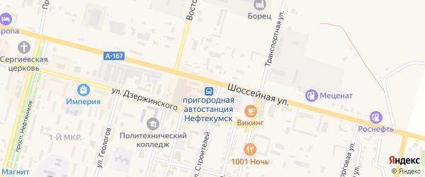 Российская улица на карте Нефтекумска с номерами домов