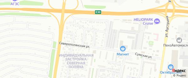 Северополянский 3-й проезд на карте Пензы с номерами домов