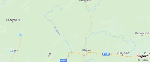Карта Межевского района Костромской области с городами и населенными пунктами