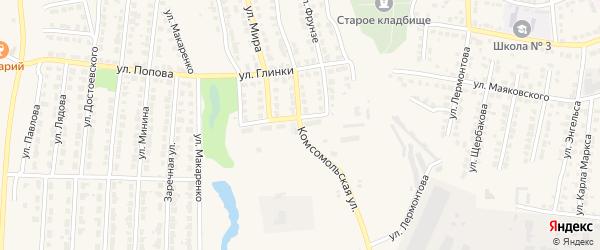 Комсомольская улица на карте Лысково с номерами домов