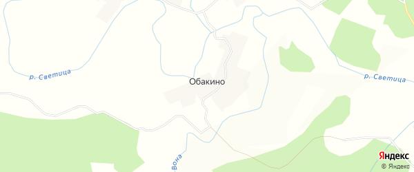 Карта деревни Обакино в Вологодской области с улицами и номерами домов