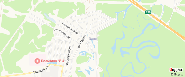 Карта поселка свх Зари города Пензы в Пензенской области с улицами и номерами домов