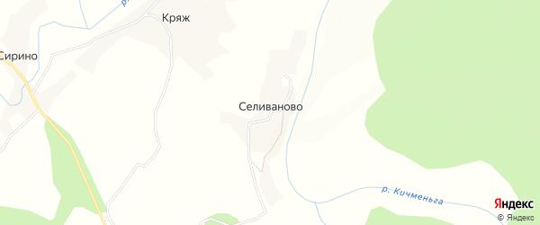 Карта деревни Селиваново в Вологодской области с улицами и номерами домов