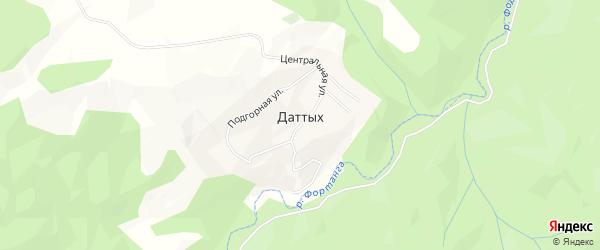 Карта села Даттых в Ингушетии с улицами и номерами домов