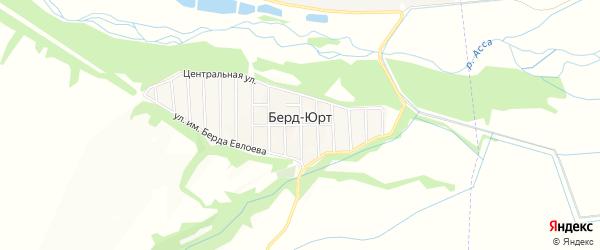 Карта села Берда-Юрт в Ингушетии с улицами и номерами домов