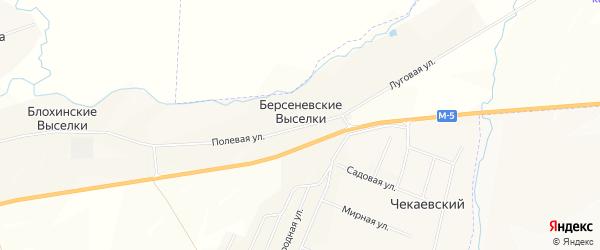 Карта поселка Берсеневские Выселков в Мордовии с улицами и номерами домов