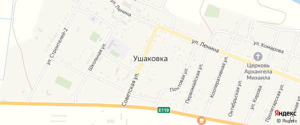 Площадь Ленина на карте села Ушаковки Астраханской области с номерами домов