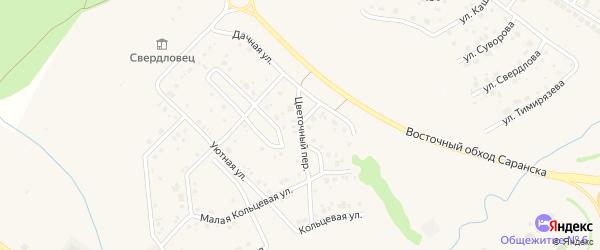 Цветочный переулок на карте поселка Ялга с номерами домов