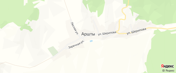Карта села Аршт в Ингушетии с улицами и номерами домов