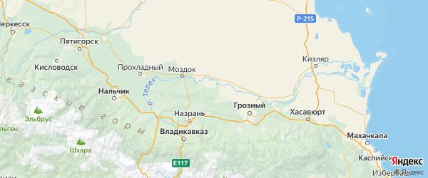 Карта Надтеречного района Республики Чечни с городами и населенными пунктами