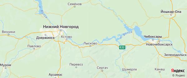 Карта Лысковского района Нижегородской области с городами и населенными пунктами