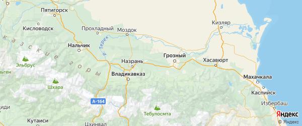Карта Сунженского района республики Чечня с населенными пунктами и городами