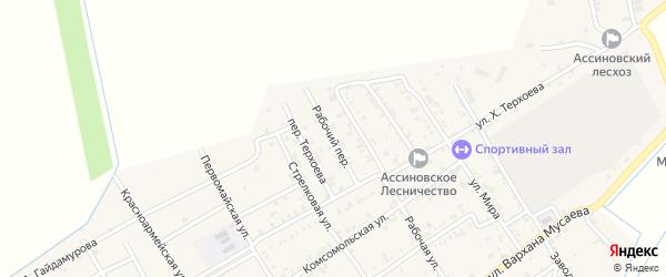 Рабочий переулок на карте Ассиновской станицы Чечни с номерами домов