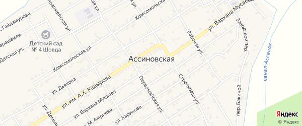 Улица Амриева М. на карте Ассиновской станицы Чечни с номерами домов
