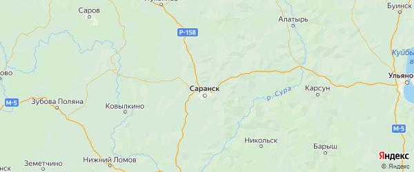 Карта Лямбирского района республики Мордовия с городами и населенными пунктами