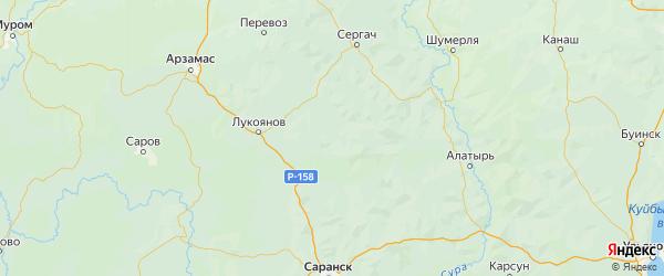 Карта Большеболдинского района Нижегородской области с городами и населенными пунктами